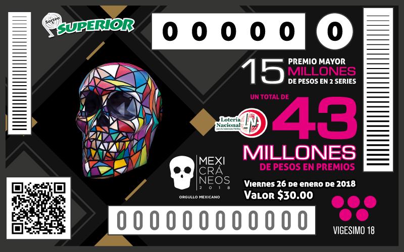 La Loteria Nacional emite billete especial de Mexicráneos